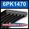 6PK1470 Automotive Serpentine (Micro-V) Belt: 1470mm x 6 ribs. 1470mm Effective Length.