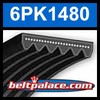 6PK1480 Automotive Serpentine (Micro-V) Belt: 1480mm x 6 ribs. 1480mm Effective Length.