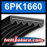 6PK1660 Automotive Serpentine (Micro-V) Belt: 1660mm x 6 ribs. 1660mm Effective Length.