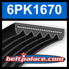 6PK1670 Automotive Serpentine (Micro-V) Belt: 1670mm x 6 ribs. 1670mm Effective Length.