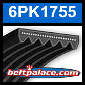 6PK1755 Automotive Serpentine (Micro-V) Belt: 1755mm x 6 ribs. 1755mm Effective Length.