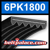 6PK1800 Automotive Serpentine (Micro-V) Belt: 1800mm x 6 ribs. 1800mm Effective Length.