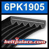 6PK1905 Automotive Serpentine (Micro-V) Belt: 1905mm x 6 ribs. 1905mm Effective Length.