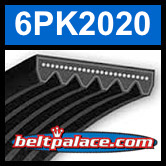 6PK2020 Automotive Serpentine (Micro-V) Belt: 2020mm x 6 ribs. 2020mm Effective Length.