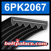 6PK2067 Automotive Serpentine (Micro-V) Belt: 2067mm x 6 ribs. 2067mm Effective Length.