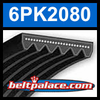 6PK2080 Automotive Serpentine (Micro-V) Belt: 2080mm x 6 ribs. 2080mm Effective Length.