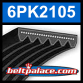 6PK2105 Automotive Serpentine (Micro-V) Belt: 2105mm x 6 ribs. 2105mm Effective Length.