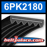 6PK2180 Automotive Serpentine (Micro-V) Belt: 2180mm x 6 ribs. 2180mm Effective Length.