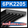6PK2205 Automotive Serpentine (Micro-V) Belt: 2205mm x 6 ribs. 2205mm Effective Length.
