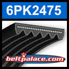6PK2475 Automotive Serpentine (Micro-V) Belt: 2475mm x 6 ribs. 2475mm Effective Length.