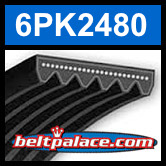 6PK2480 Automotive Serpentine (Micro-V) Belt: 2480mm x 6 ribs. 2480mm Effective Length.