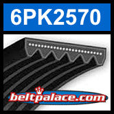 6PK2570 Automotive Serpentine (Micro-V) Belt: 2570mm x 6 ribs. 2570mm Effective Length.