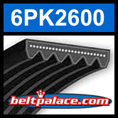 6PK2600 Automotive Serpentine (Micro-V) Belt: 2600mm x 6 ribs. 2600mm Effective Length.
