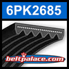 6PK2685 Automotive Serpentine (Micro-V) Belt: 2685mm x 6 ribs. 2685mm Effective Length.