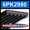 6PK2980 Automotive Serpentine (Micro-V) Belt: 2980mm x 6 ribs. 2980mm Effective Length.