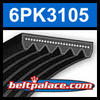 6PK3105 Automotive Serpentine (Micro-V) Belt: 3105mm x 6 ribs. 3105mm Effective Length.