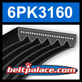 6PK3160 Automotive Serpentine (Micro-V) Belt: 3160mm x 6 ribs. 3160mm Effective Length.