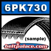 6PK730 Metric Automotive Serpentine Belt, 6 Rib (Replaces Dayco 5060288)