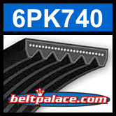 6PK740 Automotive Serpentine (Micro-V) Belt: 740mm x 6 ribs. 740mm Effective Length.
