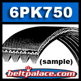 6PK750 Serpentine Belt, V-Ribbed belt Replaces K060295 MICRO-V BELT, 295K6 Belt