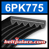 6PK775 Automotive Serpentine (Micro-V) Belt: 775mm x 6 ribs. 775mm Effective Length.