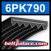 6PK790 Automotive Serpentine (Micro-V) Belt: 790mm x 6 ribs. 790mm Effective Length.