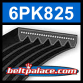 6PK825 Automotive Serpentine (Micro-V) Belt: 825mm x 6 ribs. 825mm Effective Length.