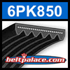 6PK850 Automotive Serpentine (Micro-V) Belt: 850mm x 6 ribs. 850mm Effective Length.