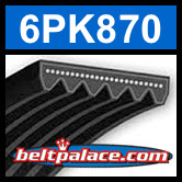 6PK870 Automotive Serpentine (Micro-V) Belt: 870mm x 6 ribs. 870mm Effective Length.