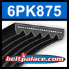 6PK875 Automotive Serpentine (Micro-V) Belt: 875mm x 6 ribs. 875mm Effective Length.