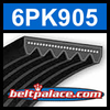 6PK905 Automotive Serpentine (Micro-V) Belt: 905mm x 6 ribs. 905mm Effective Length.