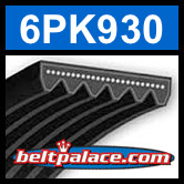 6PK930 Automotive Serpentine (Micro-V) Belt: 930mm x 6 ribs. 930mm Effective Length.