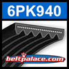 6PK940 Automotive Serpentine (Micro-V) Belt: 940mm x 6 ribs. 940mm Effective Length.