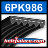 6PK986 Automotive Serpentine (Micro-V) Belt: 986mm x 6 ribs. 986mm Effective Length.