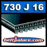 730J16 Poly-V Belt, Metric 16-PJ1854 Drive Belt.
