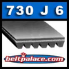 730J6 Poly-V Belt, Metric 6-PJ1854 Motor Belt. BANDO Rib Ace