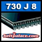 730J8 Poly-V Belt, BANDO. Metric 8-PJ1854 Motor Belt.