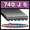 740J6 Poly-V Belt (Standard Duty), Metric 6-PJ1880 Motor Belt.