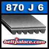 870J6 Poly-V Belt, Industrial Grade Metric 6-PJ2210 Motor Belt.
