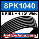 8PK1040 Automotive Serpentine (Micro-V) Belt: 1040mm x 8 RIBS. 1040mm Effective Length.