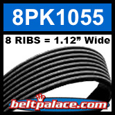8PK1055 Automotive Serpentine (Micro-V) Belt: 1055mm x 8 RIBS. 1055mm Effective Length.