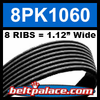 8PK1060 Automotive Serpentine (Micro-V) Belt: 1060mm x 8 RIBS. 1060mm Effective Length.