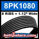 8PK1080 Automotive Serpentine (Micro-V) Belt: 1080mm x 8 RIBS. 1080mm Effective Length.