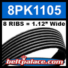 8PK1105 Automotive Serpentine (Micro-V) Belt: 1105mm x 8 RIBS. 1105mm Effective Length.