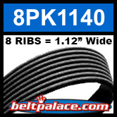 8PK1140 Automotive Serpentine (Micro-V) Belt: 1140mm x 8 RIBS. 1140mm Effective Length.