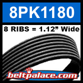 8PK1180 Automotive Serpentine (Micro-V) Belt: 1180mm x 8 RIBS. 1180mm Effective Length.