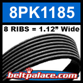 8PK1185 Automotive Serpentine (Micro-V) Belt: 1185mm x 8 RIBS. 1185mm Effective Length.
