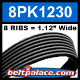 8PK1230 Automotive Serpentine (Micro-V) Belt: 1230mm x 8 RIBS. 1230mm Effective Length.