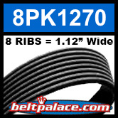 8PK1270 Automotive Serpentine (Micro-V) Belt: 1270mm x 8 RIBS. 1270mm Effective Length.