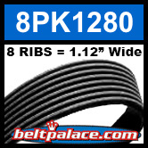 8PK1280 Automotive Serpentine (Micro-V) Belt: 1280mm x 8 RIBS. 1280mm Effective Length.